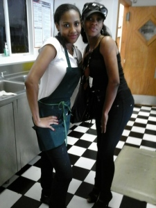 Youth Chef Hostess Shavonte' at Dan's Eatery And Bakery in Chicago with Reba LaMaestra in preparation for an event. C.H.I.M.E. Youth Biz members shadow and train with professionals in the industry that they aspire to work in with paid internship and other entrepreneurial opportunities. Visit Chime Youth Biz Network on Facebook to learn more and to share your support fill out a registration form here!!